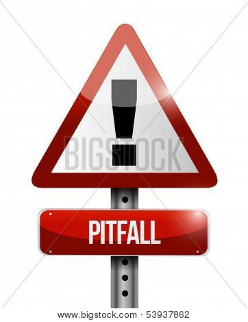pitfall warning road sign illustration design over a white background poster