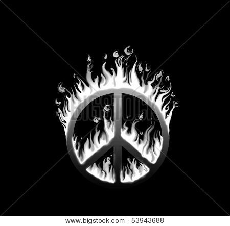 Symbol of peace engulfed in flames - concept of endangered peace; in black and white