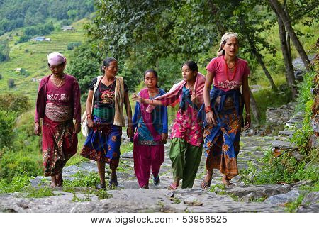 group of Gurung women in the Himalayas