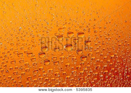 macro of orange water drops