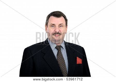 Imposing man with communist party card in the breast pocket of his jacket poster