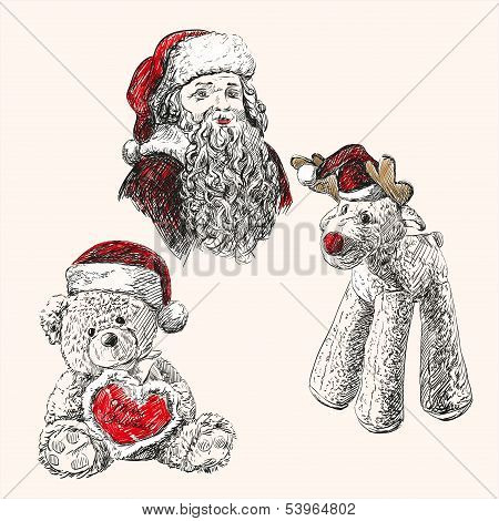 christmas set  hand drawn vector llustration sketch