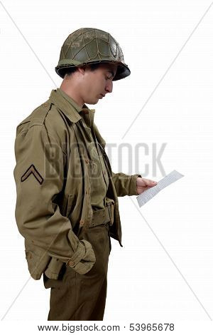 American Soldier Read A Letter