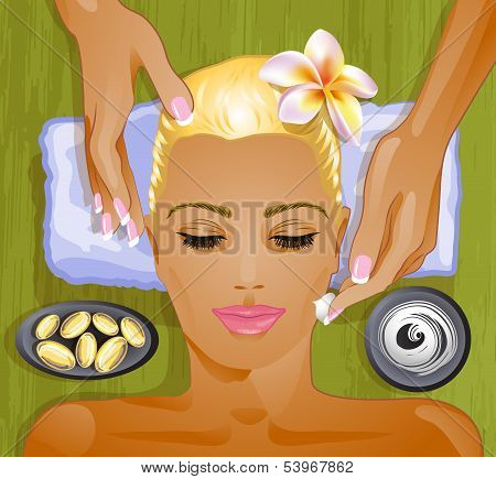 Facial treatment, moistening cream and oil for a skin