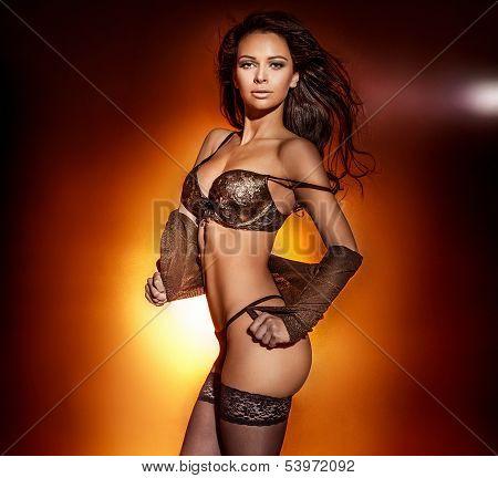 Sensual Woman Posing In Lingerie.