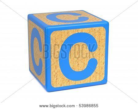 Letter C on Childrens Alphabet Block.