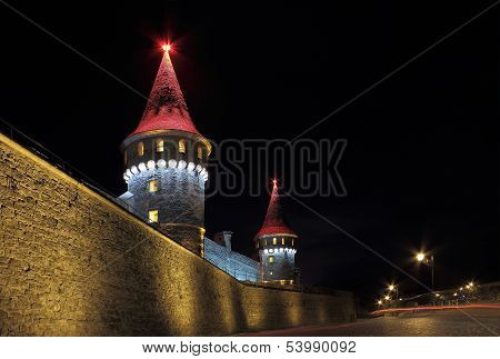 Night View Of Kamianets-podilskyi Fortress In Ukraine