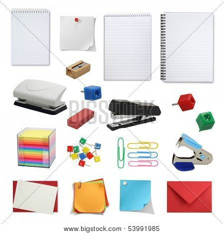 office supply collection isolated on white background