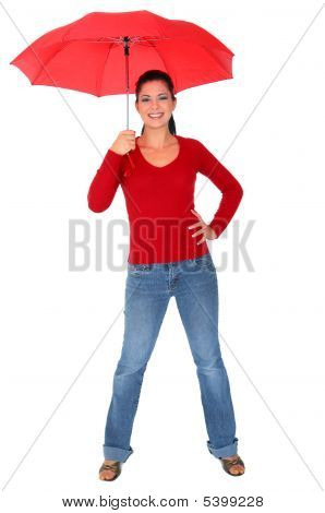 Caucasian Woman Holding Umbrella