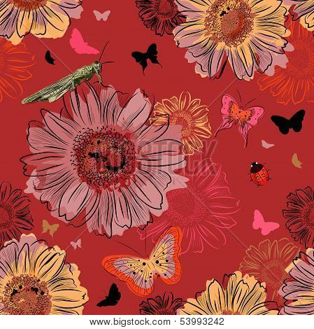 Seamless Pattern with Insect and flowers