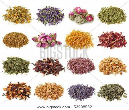 Flower and herbal tea collection isolated on white background