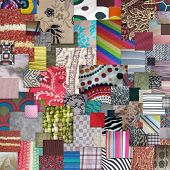 abstract collection of squares overlapping textiles and fabrics poster