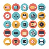 Modern flat icons vector illustration collection with long shadow design effect in stylish colors of multimedia symbols sound instruments audio and video items and objects. Isolated on white background. poster