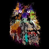 Owl on an black background, hipster symbol, vector illustration. Illustration for t-shirt. poster