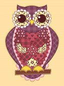 Purple patchwork owl. Vector quilt illustration. This is file of EPS8 format. poster