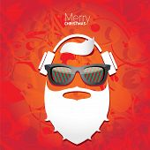 Vector Hipster santa poster for party or greeting card. poster