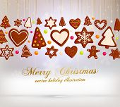 Hanging Gingerbread Christmas Cookies for Xmas Decoration. Blur Silver Snowflakes Background. Vector. poster