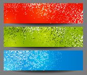Colorful horizontal banners with square motive, vector poster