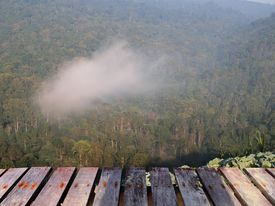 Wooden Terrace Mountain Forest Fog And Clouds