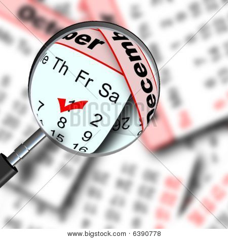 Magnifying Glass and Calendar