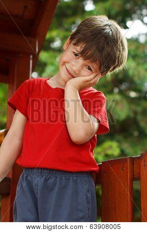 Cute Little Boy On Jungle Gym