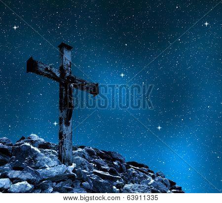 Jesus Christ on The Cross in night sky