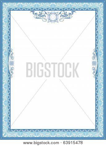 Frame for diploma. Blue.