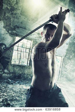 Warrior with his Katana sword poster