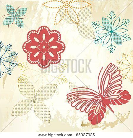 Rustic Garden flowers butterfly grunge copyspace