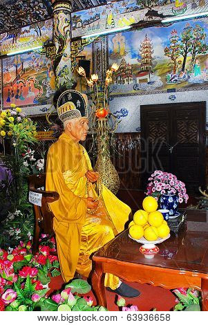 Dalat - circa November 2013: imperishable monk in a Buddhist temple in Dalat circa November 2013