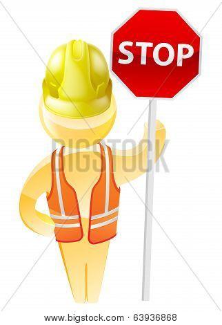 Stop Sign Construction Man