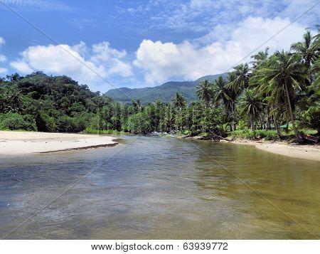 Tropical landscape. Beautiful river and sandbar.