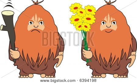 The cave man with a cudgel or with flowers - angry, congratulates