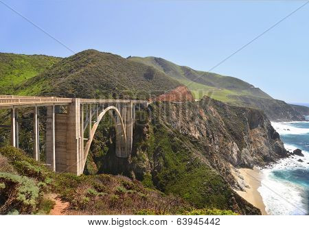 The Bixby Bridge (1) on Route 1 in California.
