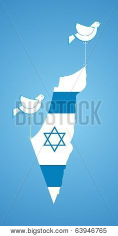 white dove holding map of Israel. happy independence poster