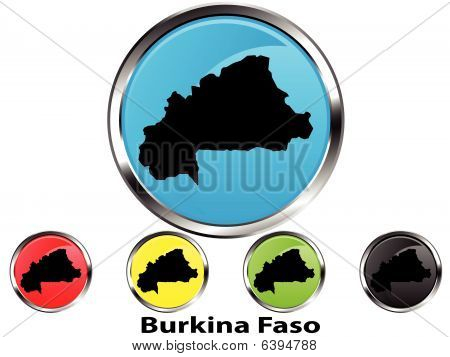 Glossy vector map button of Burkina Faso