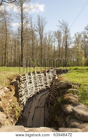 German Trench Of World War In The Forest