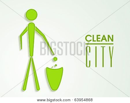 World Environment Day concept with illustration of a man dumping the garbage into a dustbin and stylish text Clean City.