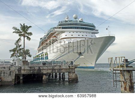Cruiseship Docked In A  Florida Harbor