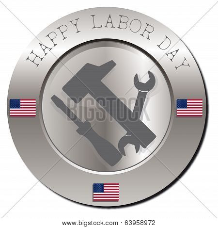 Background with flag and happy labor day poster