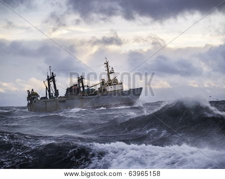 Fishing Ship In Strong Storm.