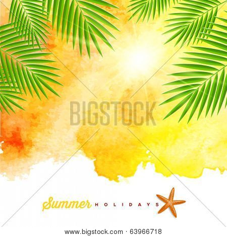 Tropical summer watercolor background with palm trees branches - vector illustration