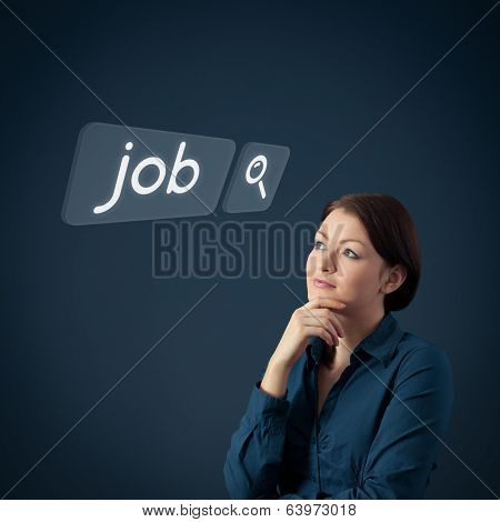 Job seeking concept. Female officer think about seeking of new job poster