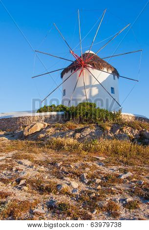 Windmill On A Hill Near The Sea On The Island Of Mykonos - A Place That Must Attend