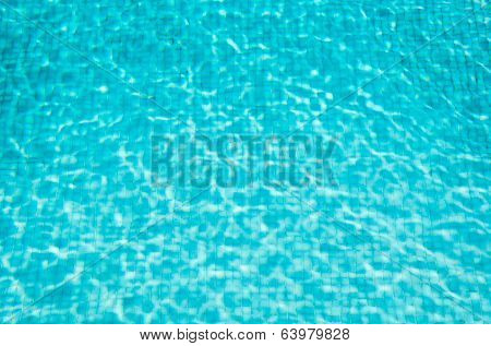 Blue Mosaic Swimming Pool With Clear Water. Background.