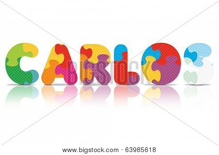 CARLOS written with alphabet puzzle - vector illustration