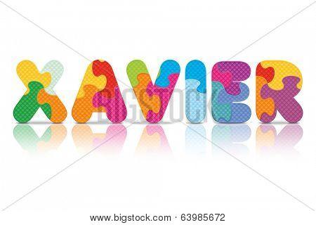 XAVIER written with alphabet puzzle - vector illustration