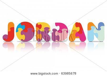 JORDAN written with alphabet puzzle - vector illustration