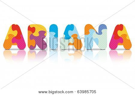 ARIANA written with alphabet puzzle - vector illustration