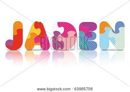 JADEN written with alphabet puzzle - vector illustration